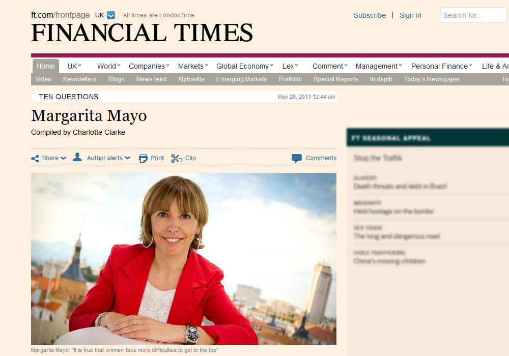 Margarita Mayo in Financial times